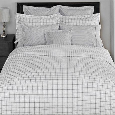 Thomas and Timothy #Grey #Duvetcover Sets from TOILE Boutique #grid #masculine #montreal #westmount #designer #bedding #linens