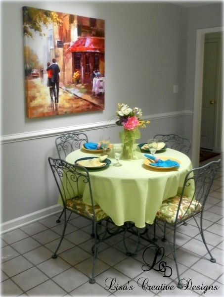 adding color to a kitchen a new lime green tablecloth recovered seat cushions - Home Staged Designs