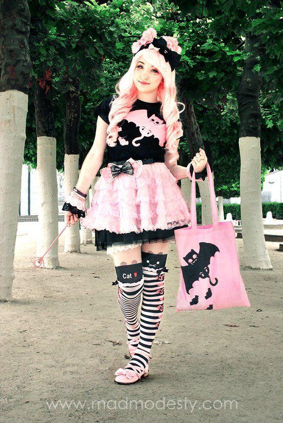 Print T Pink Fitted Goth Bat Pastel Ladies Halloween Cat Fashion LA54j3R