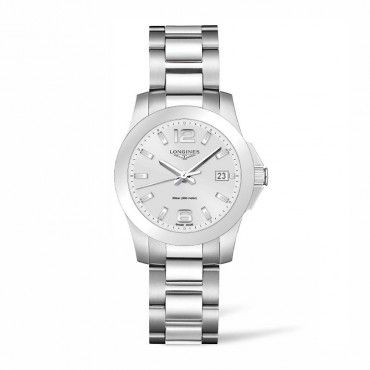 L33774766 Γυναικείο ελβετικό ρολόι LONGINES Conquest quartz με ημερομηνία, ασημί καντράν & μπρασελέ | Γυναικεία ρολόγια LONGINES ΤΣΑΛΔΑΡΗΣ στο Χαλάνδρι #conquest #quartz #longines #ρολόι