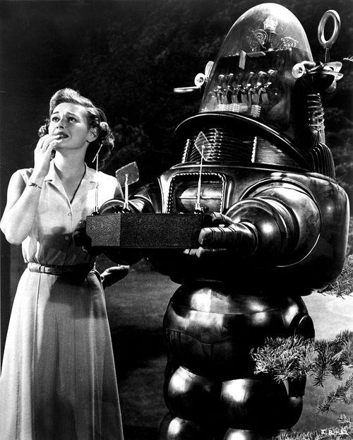 Diane Brewster and Robby the Robot in 'The Invisible Boy', 1957. ☚ its that talking robot thanks brain