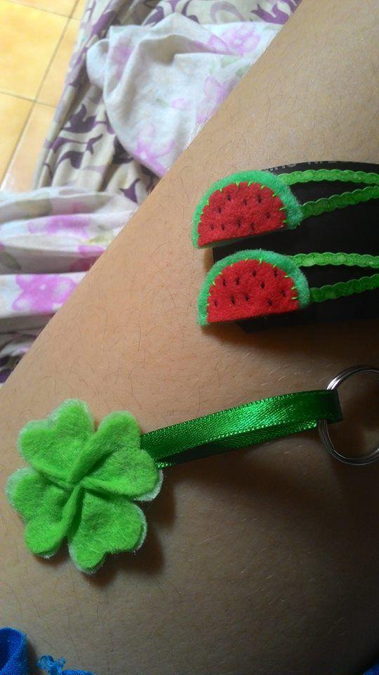 Watermelon and Four Leaf Clover / Felt / Aplicações de feltro em presilha e chaveiro / Handmade  DreamsOfADreamer
