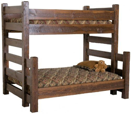 Barnwood Twin over Queen Bunk Bed Amazon Home Kitchen