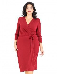 Wrap front crepe midi dress with belt - Burgundy