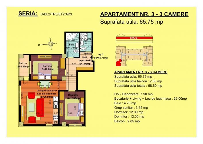 Vand apartament 3 camere, etaj 2, zona Tractorul-Brasov  Situate pe strada Nicolae Labis nr 52, blocurile sunt construite pe un regim de inaltime de P+2 E + Mansarda, cu 2 lifturi si sunt realizate arhitectural cat sa permita acelasi grad de lumina in toate apartamentele.  Acceptam orice forma de plata: Cash, Credit Ipotecar, Prima Casa sau Rate la Dezvoltator.( cu un avans de 10000 euro- 5000 la achizitie si 5000 la mutare, rate de 600 euro, perioada maxima 7 ani)