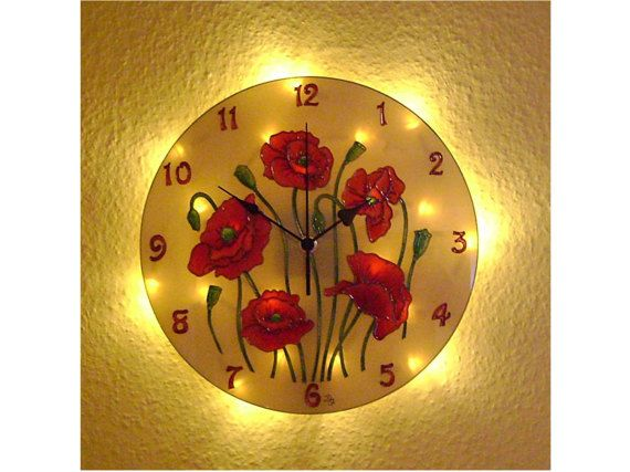 Poppie Lighted Wall Clock. Silent, Unique, Floral wall clock, Red wall decor, Poppie decoration, Vintage decor