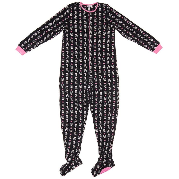 Black Skull and Heart Footed Pajamas for Women - Click to enlarge