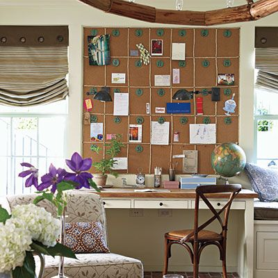 A corkboard calendar above the built-in desk helps keep track of appointments and parties.