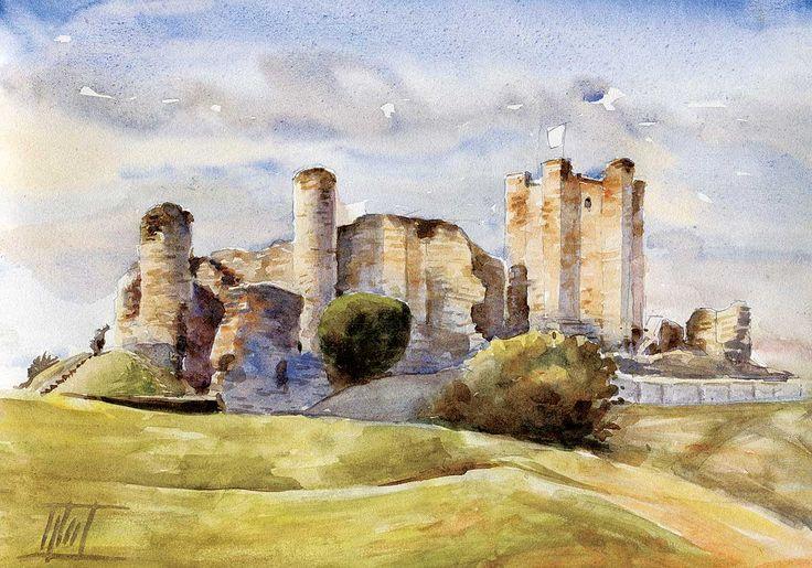 #Doncaster, UK - #Conisbrough #Castle #Watercolour - 21cm x 30cm Jaroslaw Glod - www.artende.pl