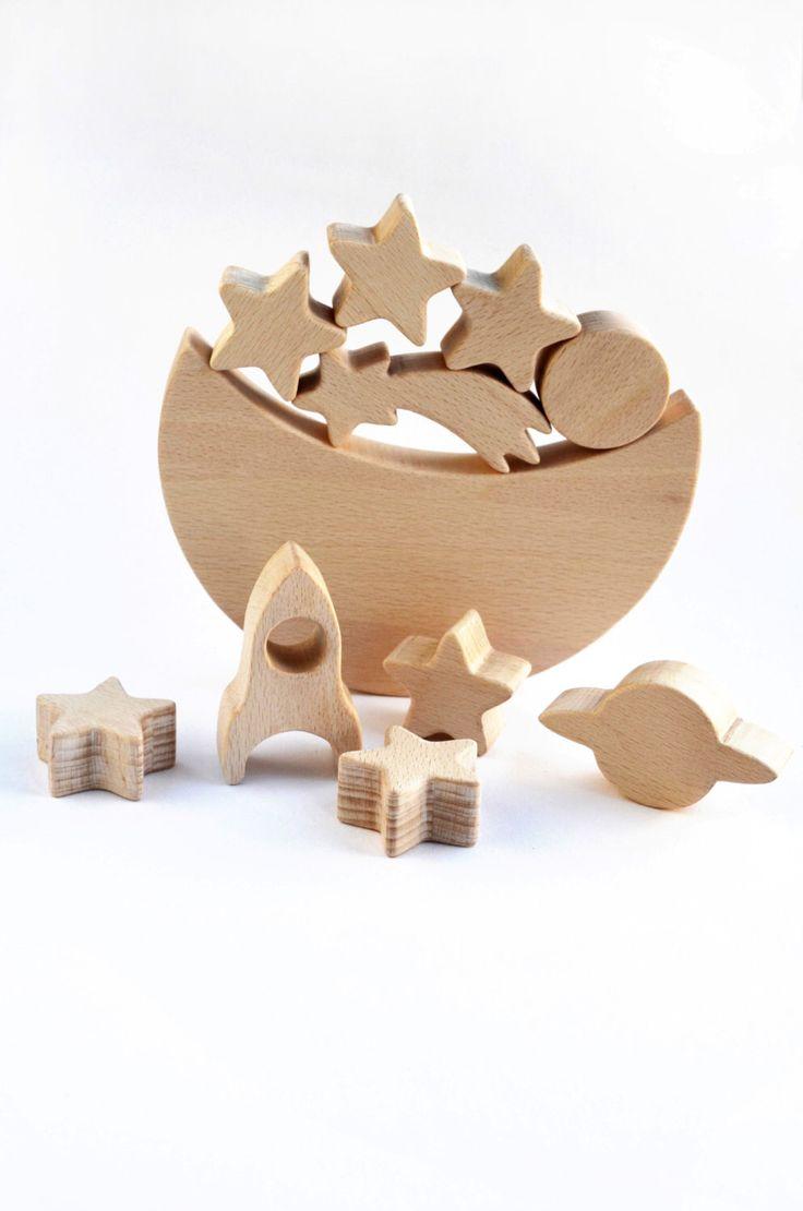 Jouet en bois de l'espace sur le thème équilibre jouet - jeu en bois - lune étoile Rocket - équilibrage jeu éducatif- par WoodAndYarnToys sur Etsy
