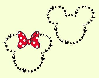 Disney svg Mickey Head Outline svg Minnie Head Outline svg Disney Monograma svg Minnie Mickey Mouse svg files for Cricut Silhouette cut file