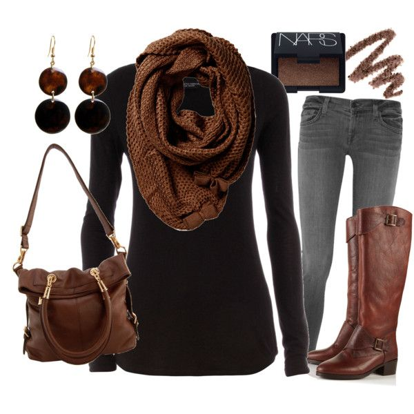 Chocolate scarf, black top, skinny denim, chocolate boots Cute/simple earrings
