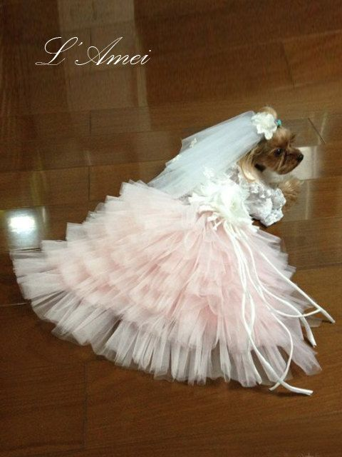 Custom Made Dog wedding dress made of soft pink tulle and by LAmei