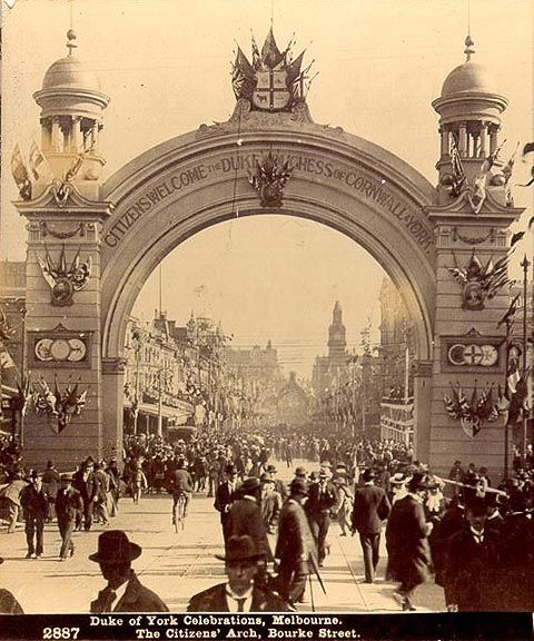 Federation 1901: Roses Stereoscopic Views Duke of York Celebrations, Melbourne 1901 The Citizens Arch, Bourke Street Melbourne Victoria