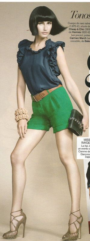 Cuerpo de raso salvaje de Isabel Marant; shorts de hilo de Moschino Cheap & Chic; cinturón de piel de Hermès; peep-toes de Dior; pulseras de cuerda de Carmen March y bolso de cocodrilo de Balenciaga. Imagen de VOGUE ESPAÑA.