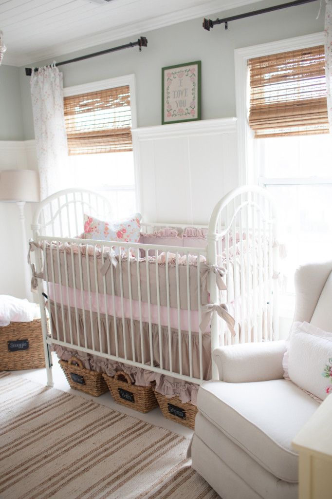 Love the idea of storage bins under the crib - #nursery #storage #organization