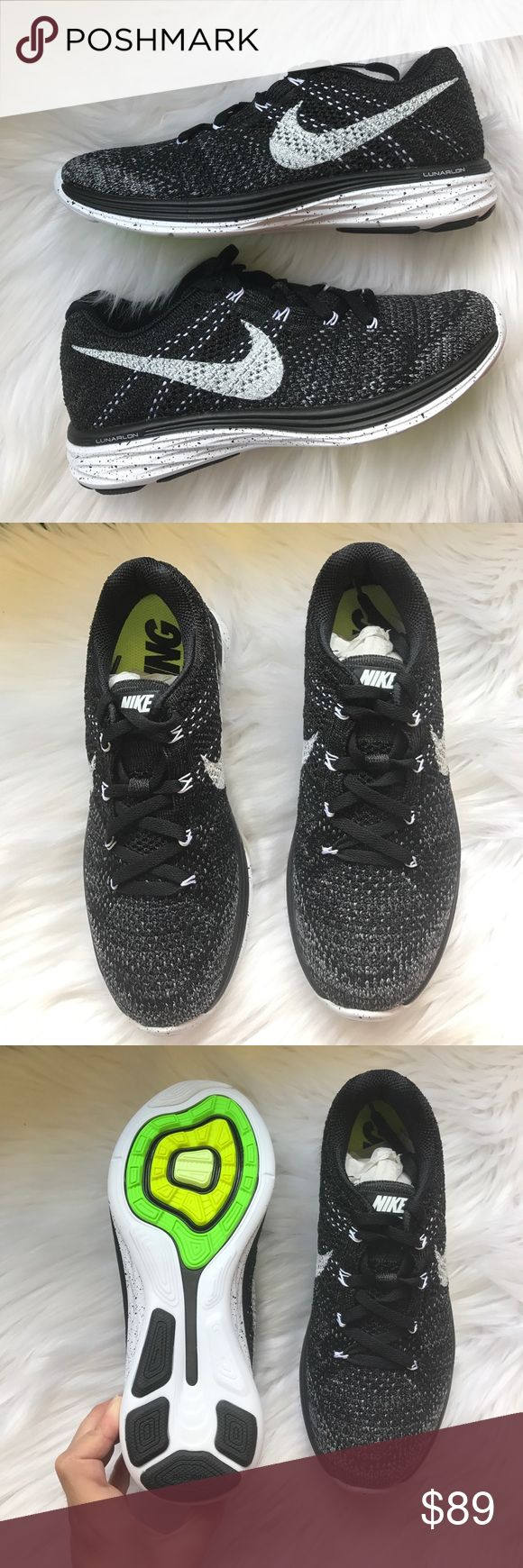 Nike Flyknit Lunar 3 Sneakers Woman's Nike Flyknit Lunar 3 Sneakers Style: 698182-001 Black, white, midnight fog and wolf grey New with box, no lid Size 6.5 (box says size 7.5) Nike Shoes Sneakers