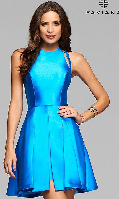 11c37f20e3 Image of Faviana high-neck open-back short homecoming dress. Style  FA-7859  Detail Image 1