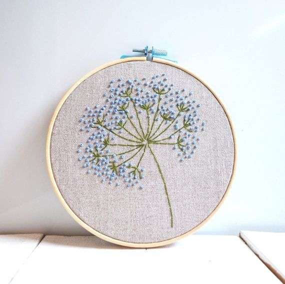 Blue flowers embroidery hoop art Botanical room decor for Your home ) Size wood…