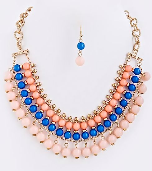 NEW: Ellington Bead Row Collar Necklace Set Blue and Rose $24 Free US Shipping www.popofchic.com