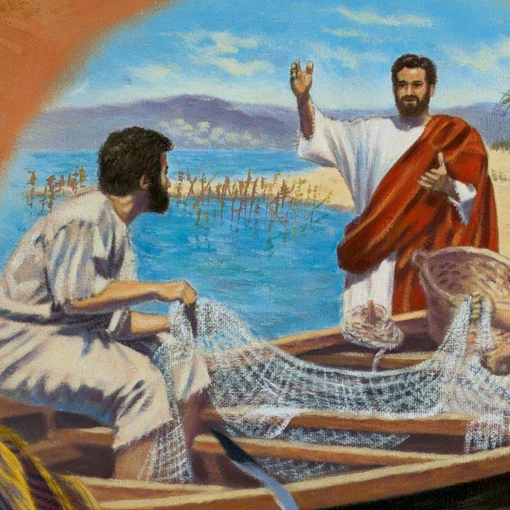 Jesus preaching to a fisherman