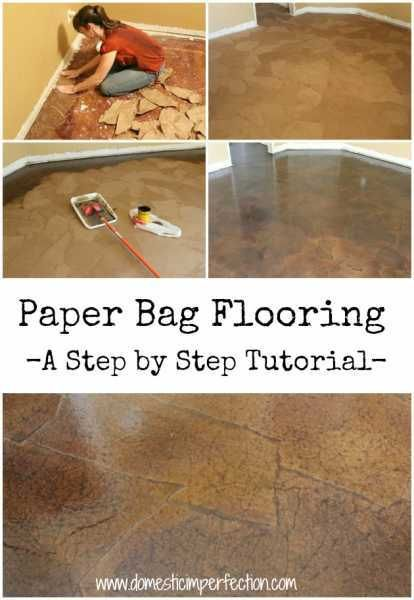 Paper-Bag-Flooring, looks perfect for the downstairs. lovelycraftyhome.com/2011/11/09/the-ultimate-brown-paper-flooring-guide