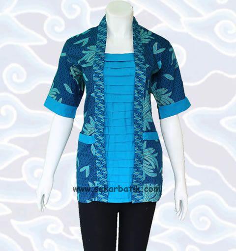 blus batik toska cantik BB32 di katalog toko online http://sekarbatik.com/blus-batik/