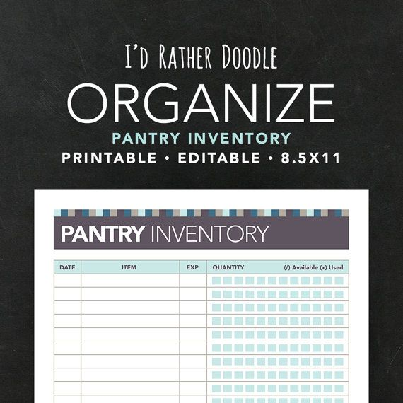 Printable Editable Kitchen Pantry Inventory - Kitchen Organization, Kitchen Inventory, Instant Download, squares