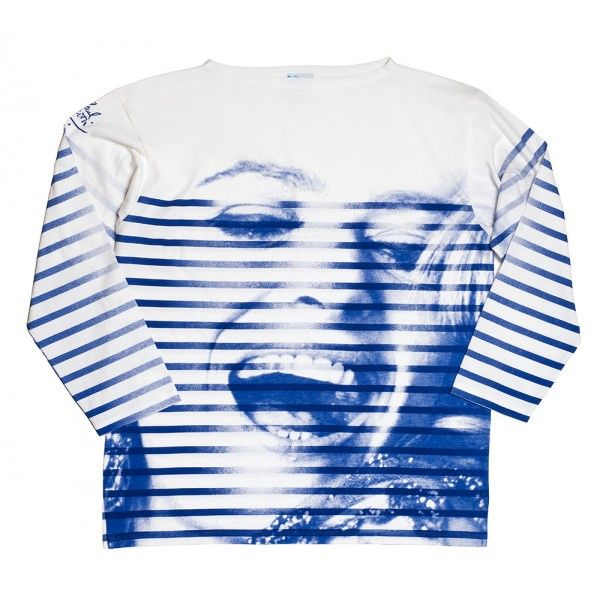 Marinière (Striped blouse) - Melina & Gaultier - The Melina Mercouri Foundation invited internationally renowned fashion designer Jean Paul Gaultier to create items inspired by Melina Mercouri. The marinière, a staple of Melina's wardrobe, is a classic symbol of style for both men and women.
