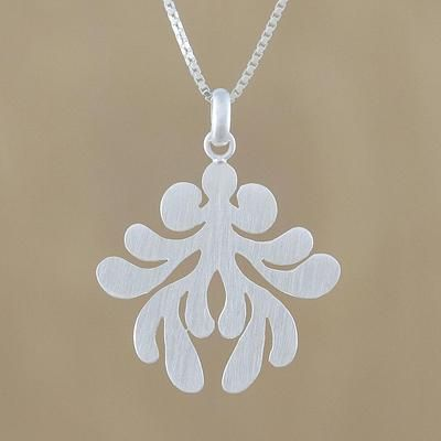 Sterling silver pendant necklace, 'Symmetric Fern' - Brushed-Satin Sterling Silver Pendant Necklace from Thailand