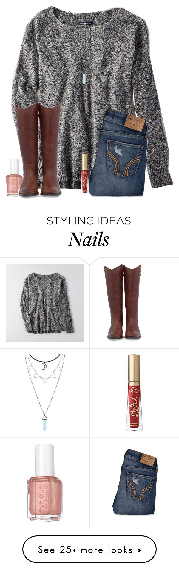 """""""Meet my new addiction: reading horoscopes on Instagram"""" by christyaphan on Polyvore featuring American Eagle Outfitters, Hollister Co., Essie, Frye and Too Faced Cosmetics"""
