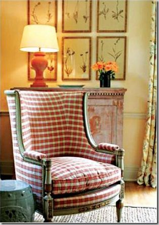 I found a chair much like this at a church thrift shop. Had bright yellow & orange cut velvet floral fabric. From '60s? Found great upholstery fabric on sale, and now my chair as cute as this one. I also had buttons tufted on the back.