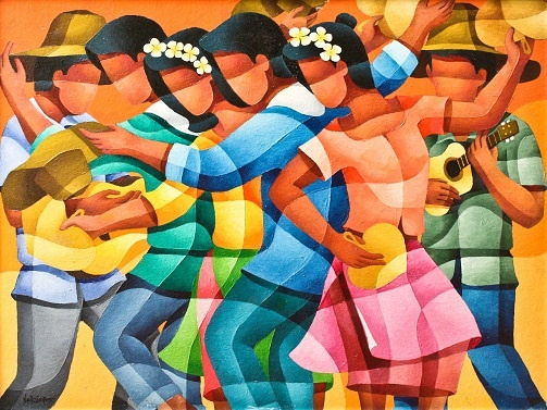 Folk dancers by Campos, Nell | Art Circle Gallery