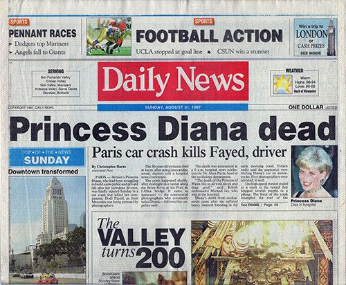 Princess Diana Dies In Car Crash Daily News Newspaper Aug 31 1997