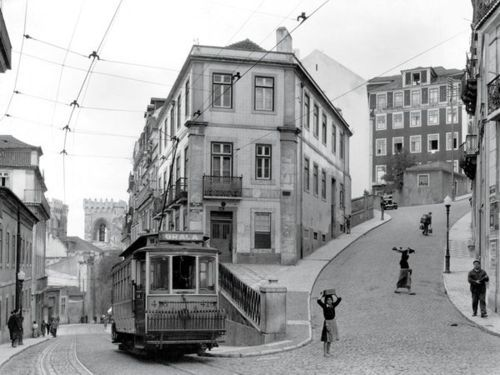 Street scene in Lisbon (Lisboa) - Portugal , 1940's - Photograph by W. Robert Moore, National Geographic