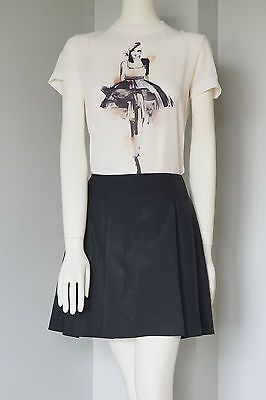 THEORY-BLACK-PLEATED-A-LINE-SKIRT-WOOL-FRONT-POCKETS-SIZE-6