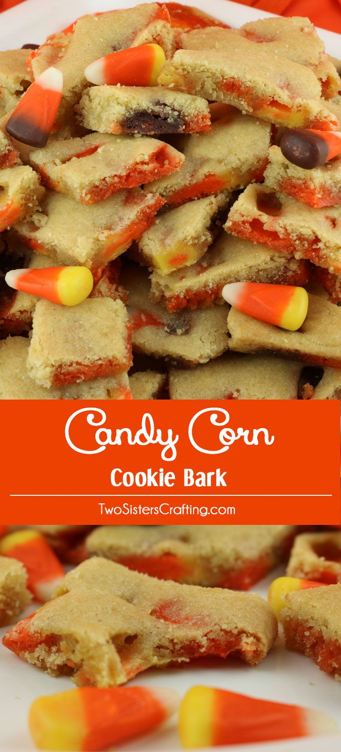 Candy Corn Cookie Bark - a thin and crispy cookie chock full with yummy Candy…