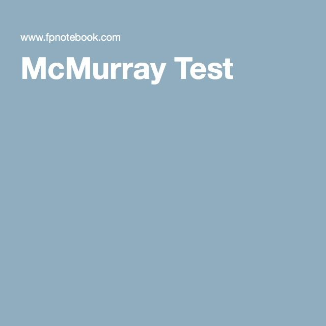 McMurray Test