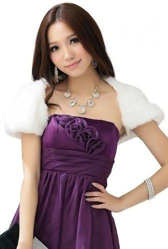 Amazon.co.jp: ファー ボレロ 結婚式 パーティー フォーマル フェイクファー 黒 白 フリー パーティーボレロ: 服&ファッション小物