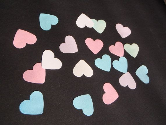 pastel heart confetti 1 inch heart shape pastel wedding confetti bridal favor tree guest book table decor diy garland lasoffittadiste
