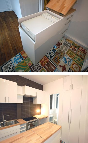 Furniture bar that separates the entrance to the kitchen and the cleverly covered up washing machine.   Tiny Homes