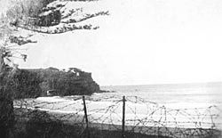 Barbed wire fences in place along Manly Beach during WW2 1939-1945 - Sydney, NSW. v@e.