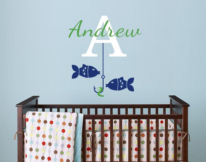 Fishing Monogram, Going Fishing Custom Name Vinyl Wall Decal For Nursery,  Kids, Childrens Room 088