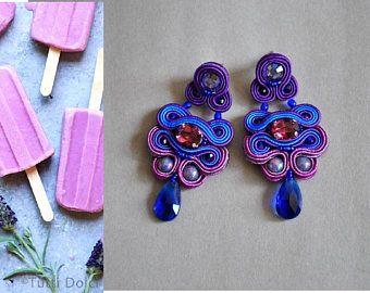 SOLDE -30 % violet bleu Soutache boucles d'oreilles Swarovski Crystal