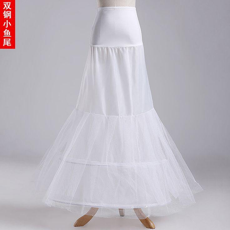 Hot sale Mermaid Petticoat/slip 2 Hoops Two Layer Bone Elastic Underskirt For Wedding Dress Crinoline Trumpet China Online Store