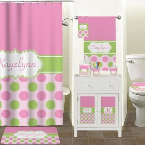 Pink And Green Polka Dot Shower Curtain