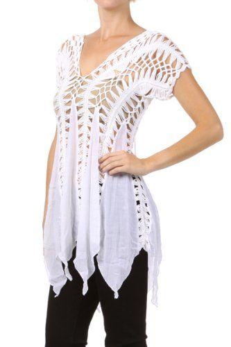 Hairpin Crochet Top with An Asymmetric Hem