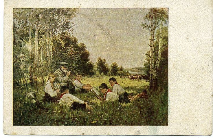 "1950 ""Soviet Children"" Girl  Boy Pioneer Socialist realism Russian postcard"