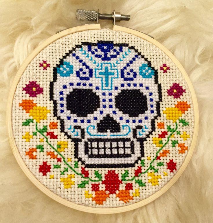 Dia de los muertos sugar skull cross stitch