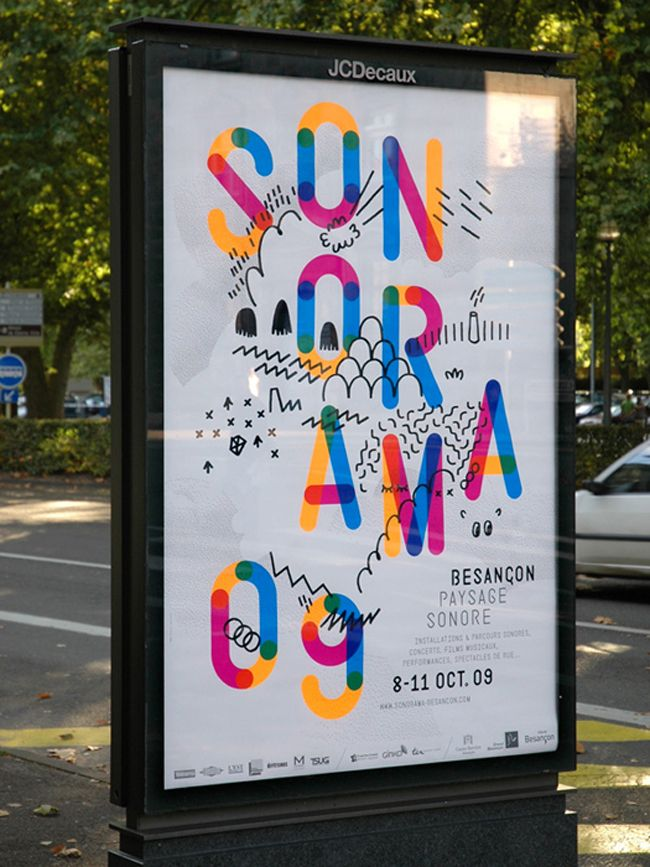 I enjoy how the Sonorama Music Festival main text is made up of different colours, which overlap each other. I also like how the drawing behind them, which give added detail to the poster.